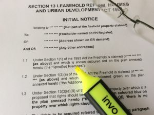 Freehold Purchase Section 13 Notice